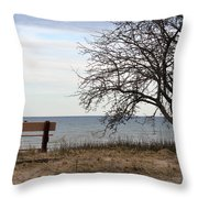 Bench And Beach Throw Pillow
