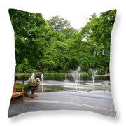Bench And Fountain Throw Pillow