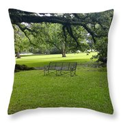Bench At Oak Alley Plantation Throw Pillow