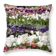 Bench Between The Tulips At Dallas Arboretum  Throw Pillow