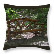 Bench Made Of Tree Branches Throw Pillow