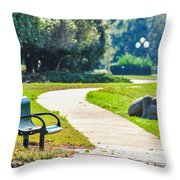Bench In A Park With A Walkway Throw Pillow