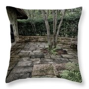 Bench In Lush Garden Throw Pillow
