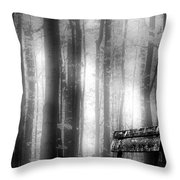 Bench In Michigan Woods Throw Pillow