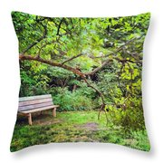 Bench In Park  Throw Pillow