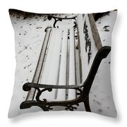 Bench In Snow Throw Pillow