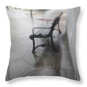 Bench In The Rain Throw Pillow