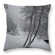 Bench In The Snow Throw Pillow