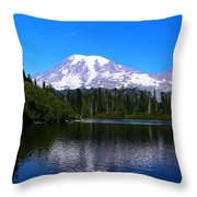 Bench Lake In The Fall Throw Pillow