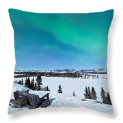 Bench Looking On Lake Laberge With Northern Lights Throw Pillow