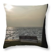 Bench On A Foggy Lake Front Throw Pillow