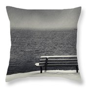 Bench On The Winter Shore Throw Pillow