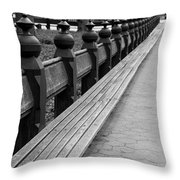 Bench Row Black And White Throw Pillow