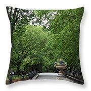 Bench Rows In Central Park  Nyc Throw Pillow