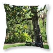 Bench Under The Magnolia Tree Throw Pillow