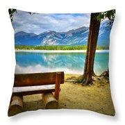 Bench View At Lake Edith Throw Pillow