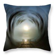Bench With Sun Throw Pillow