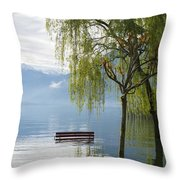 Bench With Trees On A Flooding Alpine Lake Throw Pillow
