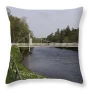 Benches And Suspension Bridge Over River Ness Throw Pillow