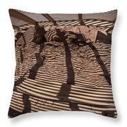 Benches At Meteor Crater In Arizona Throw Pillow