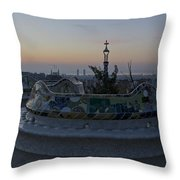 Benches At Parc Guell Throw Pillow