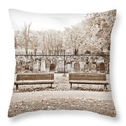 Benches By The Cemetery In Sepia Throw Pillow