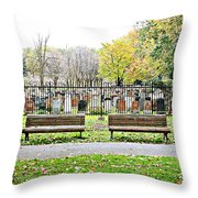 Benches By The Cemetery Throw Pillow