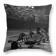 Benches In The Rain Bw Throw Pillow