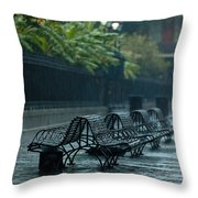 Benches In The Rain Throw Pillow
