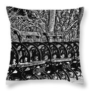 Benches In The Snow - Bw Throw Pillow