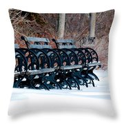 Benches In The Snow Throw Pillow