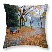 Benches Of Fall Throw Pillow