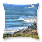 Benches On The Beach Throw Pillow