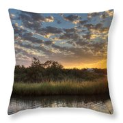 Bend In The Bayou Sunrise Throw Pillow