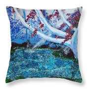 Beneath The Red Tree Throw Pillow