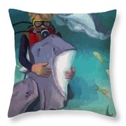 Benevolent Creatures At Stingray City Throw Pillow