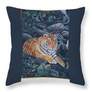 Bengal Tiger Wild Life Realistic Painting Water Color Handmade Artwork India Uk Throw Pillow