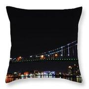 Benjamin Franklin Bridge At Night Panarama Throw Pillow