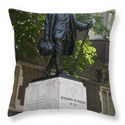 Benjamin Franklin Statue University Of Pennsylvania Throw Pillow