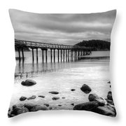 Bennet Bay Pier Black And White Throw Pillow