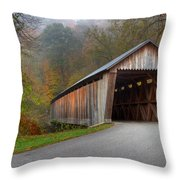Bennett Mill Covered Bridge Throw Pillow