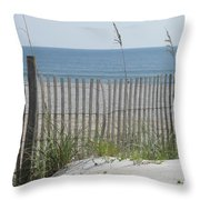 Bent Beach Fence Throw Pillow