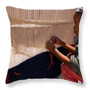 Berber Girl Working On Traditional Berber Rug Ait Benhaddou Southern Morocco Throw Pillow