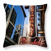 Berghoff Restaurant Sign In Downtown Chicago Throw Pillow