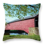 Berks Courty Pa - Griesemer's Covered Bridge Throw Pillow