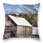 Berkshire Barn In Winter Throw Pillow