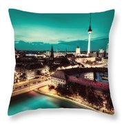 Berlin Germany Major Landmarks At Night Throw Pillow