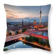 Berlin Germany Major Landmarks At Sunset Throw Pillow