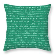 Berlin In Words Algae Throw Pillow