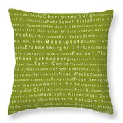 Berlin In Words Olive Throw Pillow
